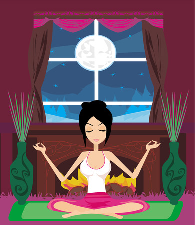 girl sits and meditates Stock Vector - 26703680