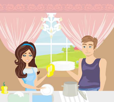 couple washing dishes in the kitchen  Vector
