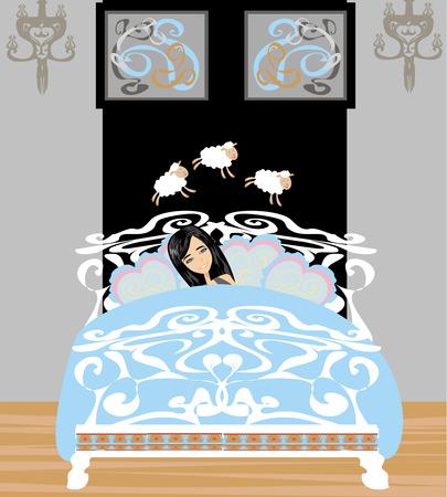 girl counting sheep to fall asleep  Vector