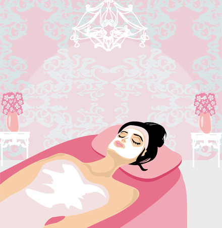 woman with mask on his face relaxes in the spa salon  Vector