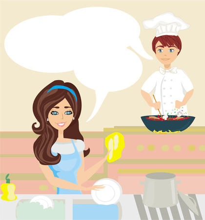 workers in the kitchen, woman washes dishes, man cooks a dish  Vector