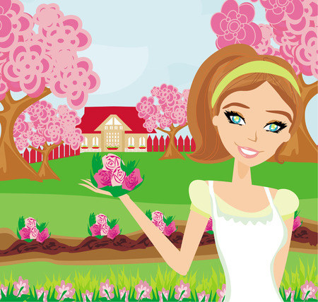 thrive: beautiful woman plant flowers in the garden