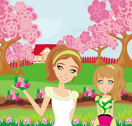 thrive: Mom and daughter plant flowers in the garden Illustration