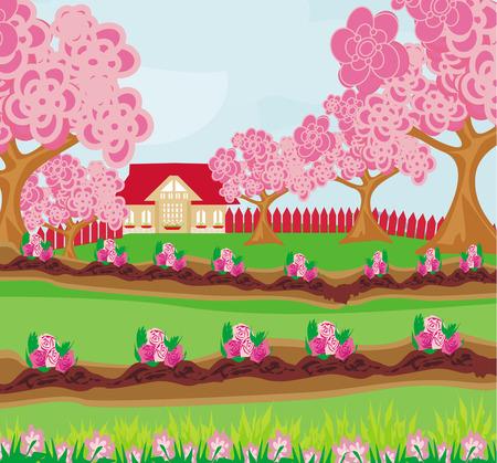 thrive: garden full of flowers Illustration