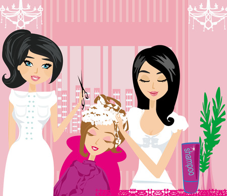 woman washing hair: relax at the hairdresser