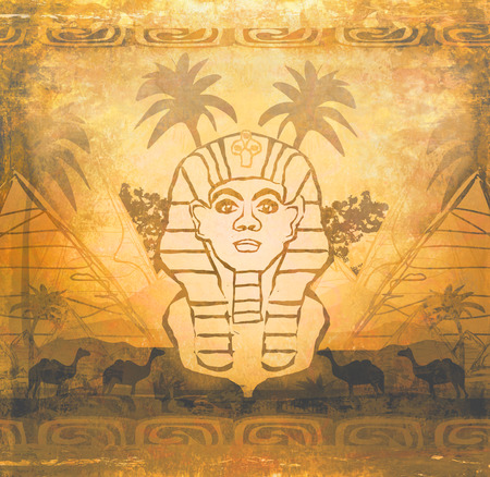 abstract grunge frame - Great Sphinx of Giza  photo
