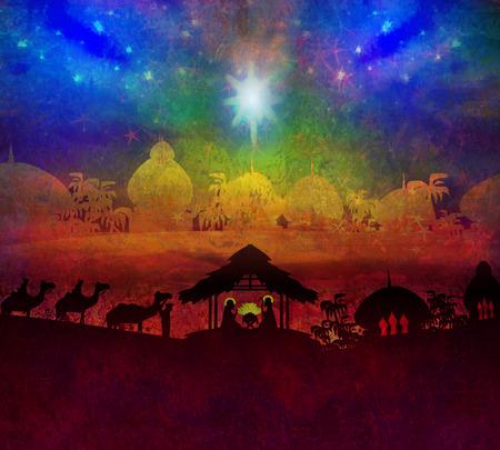 Bijbelse scène - de geboorte van Jezus in Bethlehem. Stockfoto