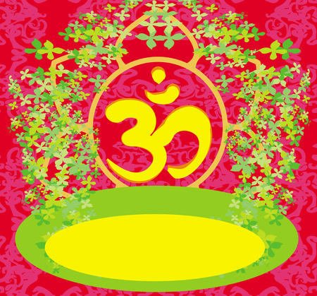 om aum symbol on a red background Stock Vector - 26972104