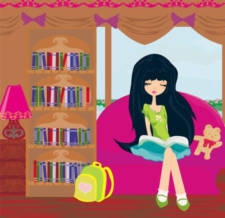 Teen girl Reading A Book  Vector