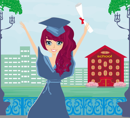 commencement exercises: Illustration of a Kid Holding Her Diploma