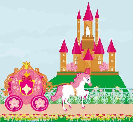 horse carriage and a medieval castle Stock Vector - 26972112