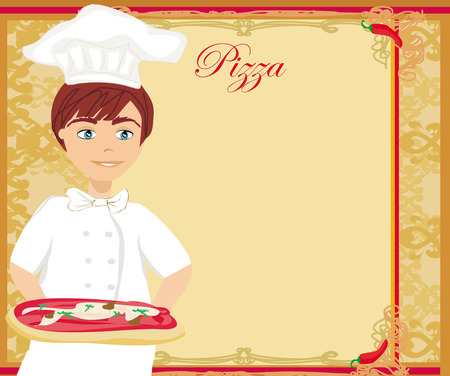 flavorful: chef with pizza - Abstract card with space for menu