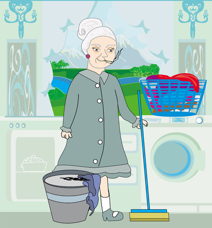 maid cleans the kitchen Vector