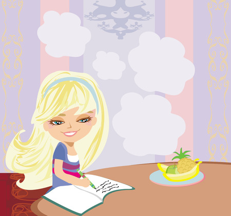 illustration of girl doing homework  Vector