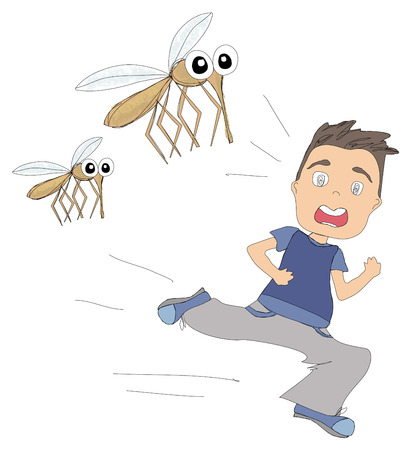 malaria: boy runs away from mosquitoes