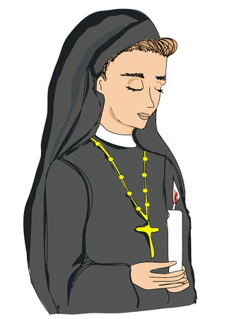 nun: doodle illustration of nun  Illustration