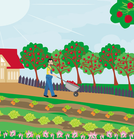 Gardener in the orchard Vector