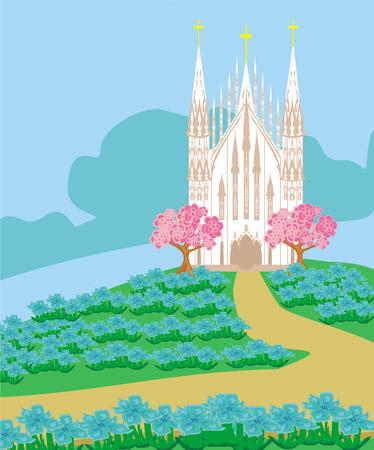 sermon: landscape with a beautiful Catholic church Illustration