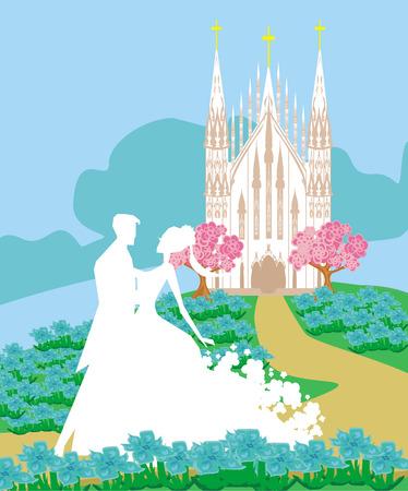 sermon: wedding couple in front of a church