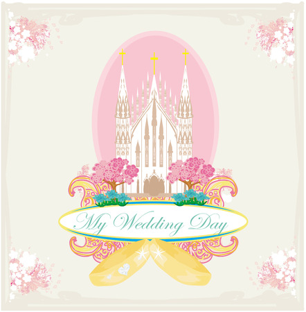 vintage wedding card with rings and elegant Catholic Church Vector