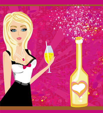 anniversary sexy: Vector illustration of Champagne bottle and beautiful girl with a drink Illustration