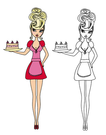 Housewife serving cake with cream - funny doodle illustration Vector