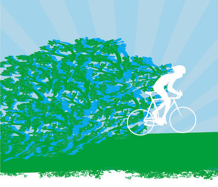 cyclist, abstract silhouette card Vector