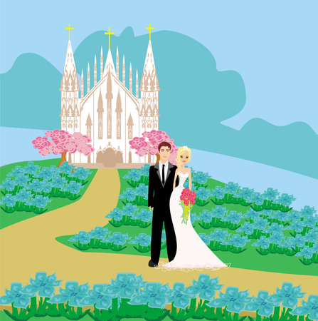 wedding couple in front of a church