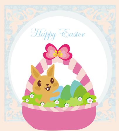 Easter Bunny with basket full of Easter eggs  Illustration