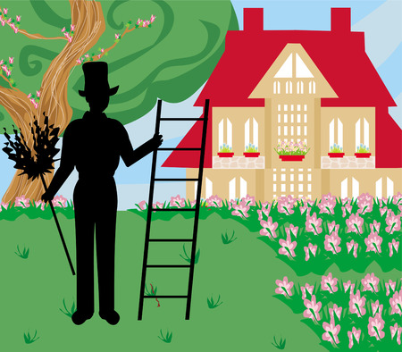 illustration of chimney sweeper at work  Vector