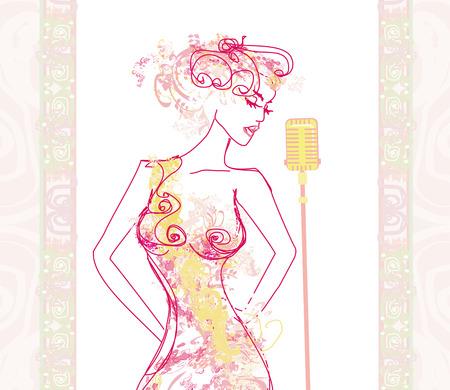 Beautiful karaoke girl - abstract portrait Vector