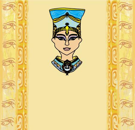 vellum: grunge cornice con regina egiziana Vettoriali