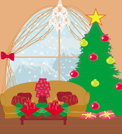 christmas room: living room at Christmas time.  Illustration
