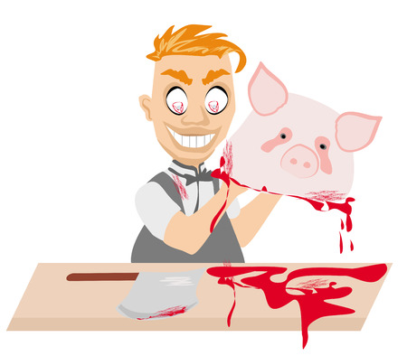 Crazy insane butcher covered with blood Vector