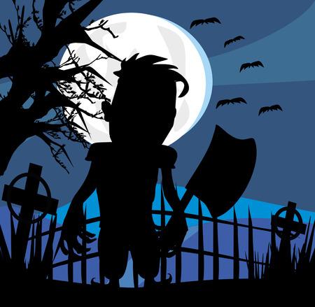 ax man: Crazy man with an ax on a dark night
