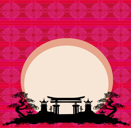 Abstract card with Asian buildings Vector