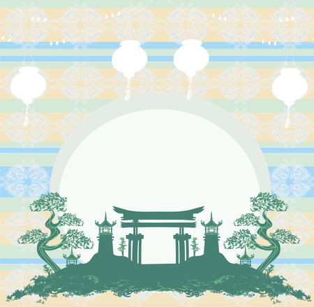 chinese new year card: Asian buildings - Chinese New Year card