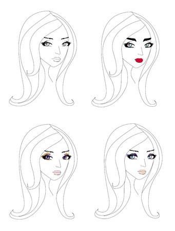 doodle portrait of a girl, different make-up Vector
