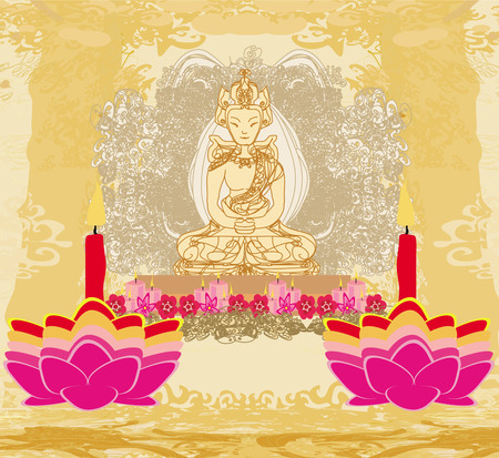 Lotus Oil Lamp with Buddha card  Stock Vector - 27495871