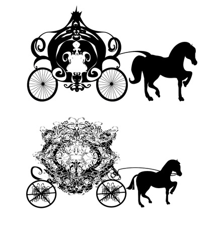beautiful cinderella: vintage carriage - two vector icons Illustration