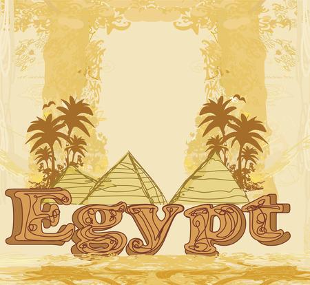 giza: vintage frame with pyramids giza