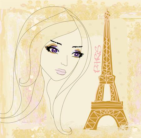 portrait of a beautiful girl in Paris Vector