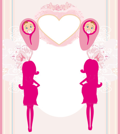pregnant woman it has a birth to a girl - baby shower card  Vector