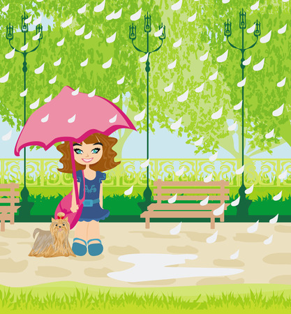 girl walking the dog in the rain Vector