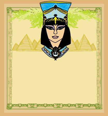 Egyptian queen Cleopatra , frame Vector