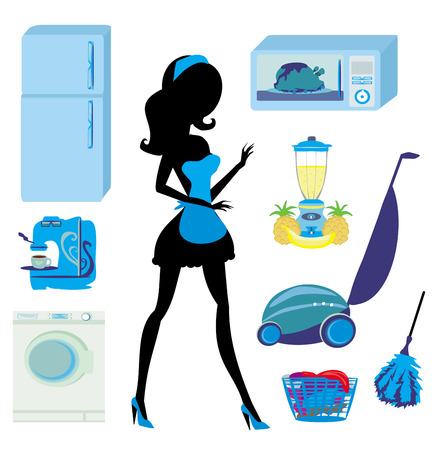 furniture in the kitchen and cleaning - set Vector