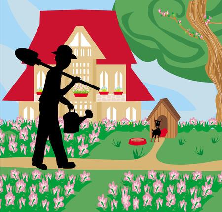 prairie dog: gardener planting flowers Illustration