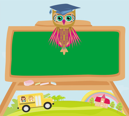 cute back to school illustration with owl Vector