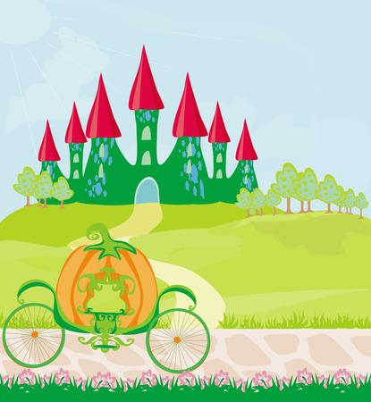 castello fiabesco: carrozza di zucca in piedi di fronte a un castello delle fiabe
