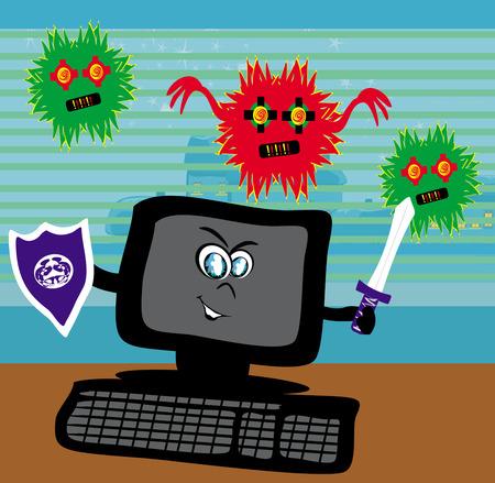 spy ware: Computer virus attacking